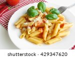 fresh plate of pasta penne with ... | Shutterstock . vector #429347620