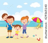 happy family at the beach.... | Shutterstock .eps vector #429365140
