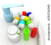 syringe  tablet  pill jar. 3d... | Shutterstock . vector #429376540