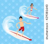 cool vector boy and girl surfer ... | Shutterstock .eps vector #429381640