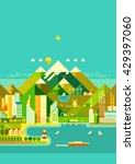mountain city. modern city ... | Shutterstock .eps vector #429397060