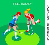 field hockey girl player... | Shutterstock .eps vector #429403924