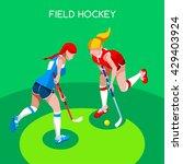 field hockey girl player... | Shutterstock .eps vector #429403924