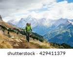 man tourist with a backpack... | Shutterstock . vector #429411379