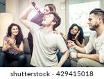 group of friends playing hard...   Shutterstock . vector #429415018