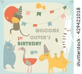 birthday card with cute monkey  ... | Shutterstock .eps vector #429421018