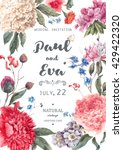 Vintage watercolor floral vector wedding invitation with peonies and garden flowers, botanical natural peonies Illustration. Summer floral peonies greeting card | Shutterstock vector #429422320