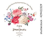 vintage watercolor floral... | Shutterstock .eps vector #429422329