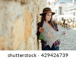 young woman  traveler  with a... | Shutterstock . vector #429426739