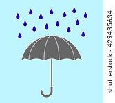 grey umbrella with rain drops.... | Shutterstock .eps vector #429435634
