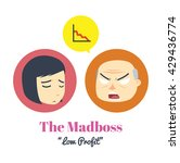 the mad boss with woman... | Shutterstock .eps vector #429436774