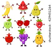 cartoon fruit characters. grape ... | Shutterstock .eps vector #429451264