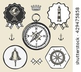 compass bell lighthouse marine...   Shutterstock .eps vector #429475858
