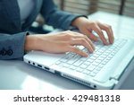 business woman hand typing on... | Shutterstock . vector #429481318