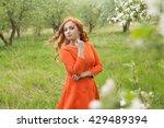 portrait of redhead girl in... | Shutterstock . vector #429489394