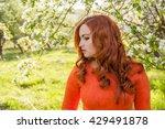 portrait of redhead girl in... | Shutterstock . vector #429491878