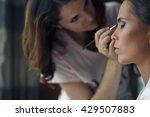 the makeup artist does makeup... | Shutterstock . vector #429507883