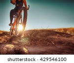 a woman riding a bicycle down a ... | Shutterstock . vector #429546100