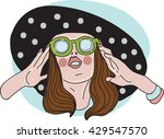 the girl in the hat | Shutterstock .eps vector #429547570