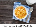 tasty corn flakes in bowl with... | Shutterstock . vector #429569134