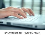 business woman hand typing on... | Shutterstock . vector #429607534