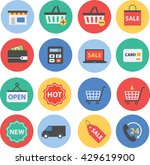 e commerce shopping icons   Shutterstock .eps vector #429619900