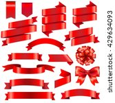 red ribbons big set | Shutterstock . vector #429634093