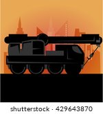 outline truck crane and city... | Shutterstock . vector #429643870
