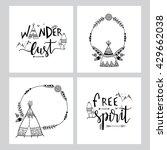 set of creative boho style... | Shutterstock .eps vector #429662038