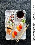 sushi rolls  nigiri  maki ... | Shutterstock . vector #429662194