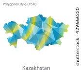 kazakhstan map in geometric... | Shutterstock .eps vector #429666220