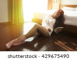 beautiful women in the bedroom... | Shutterstock . vector #429675490