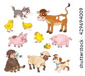 Stock photo at the farm set of cute baby animals calf kitten chicks pigs sheep and puppy seamless pattern 429694009