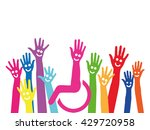 hands as a symbol of inclusion... | Shutterstock . vector #429720958