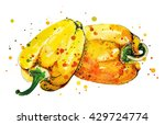 paprika. two yellow peppers.... | Shutterstock . vector #429724774