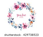 floral wreath round. watercolor ... | Shutterstock . vector #429738523