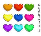 cute cartoon colorful  hearts...