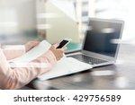 open space office workplace... | Shutterstock . vector #429756589