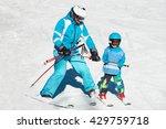 Ski School   Little Boy Skiing...