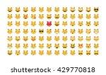 Stock vector  set of cat emoticon vector emoji vector smile icon set emoticon icon web stock vector 429770818