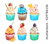 watercolor cupcakes set. hand... | Shutterstock . vector #429786136