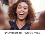 filling her selfie with laughter | Shutterstock . vector #429797488