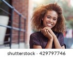 her smile brightens up the city | Shutterstock . vector #429797746