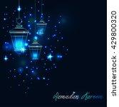 three garden lanterns lightened ...   Shutterstock .eps vector #429800320