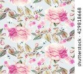 roses and butterflies seamless ... | Shutterstock . vector #429818668