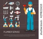 plumbing service decorative... | Shutterstock .eps vector #429822610