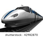 High-speed train isolated on white - stock photo