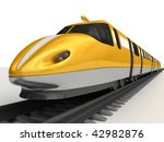 Gold high-speed train - stock photo