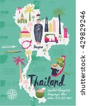 cartoon map of thailand. print...   Shutterstock .eps vector #429829246