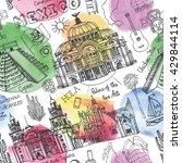 travel mexico famous landmarks... | Shutterstock .eps vector #429844114
